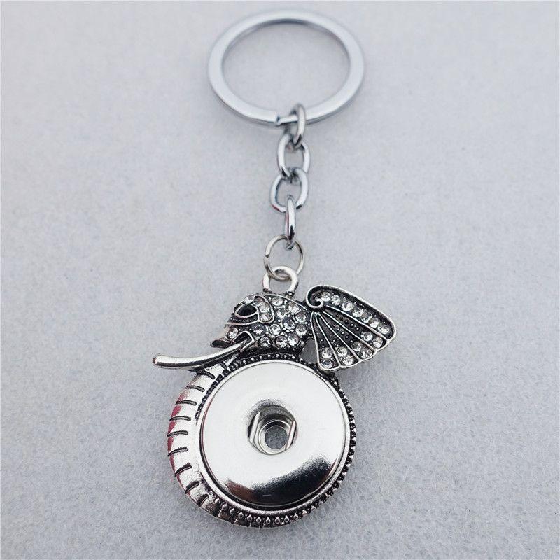 12 teile / los Vintage Strass Tier Elefanten Schlüsselanhänger Noosa Chunks Metall Ingwer 18mm Druckknöpfe Schlüsselanhänger Großhandel