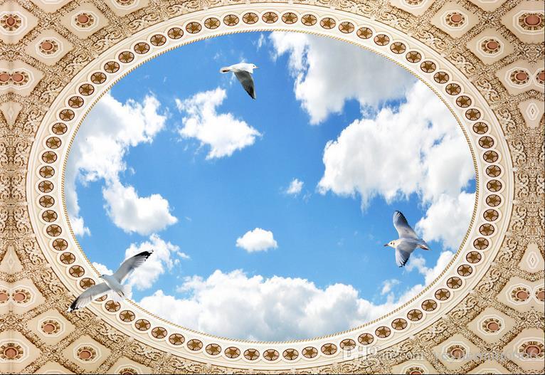 3D الجداريات السقف خلفية تخصيص خلفية للجدران 3 د سقف جدارية السماء الزرقاء والغيوم البيضاء 3D سقف خلفيات لغرفة المعيشة