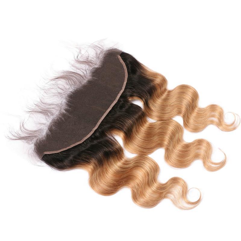 Körperwelle Ombre Lace Frontals 13x4 mit Baby-Haar 2Tone 1B / 27 dunkle Wurzel Honig Blonde Ombre brasilianische Haar Full Lace Frontal Schließung