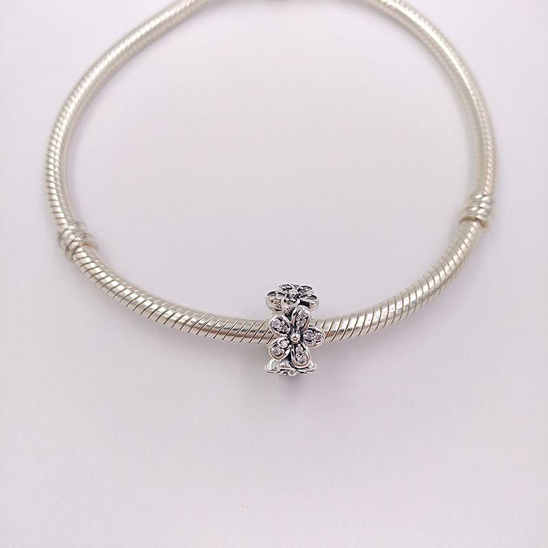 Auténtico 925 cuentas de plata esterlina deslumbrantes margaritas encantos adapta europeo Pandora estilo joyas pulseras collar flor espaciador de regalo
