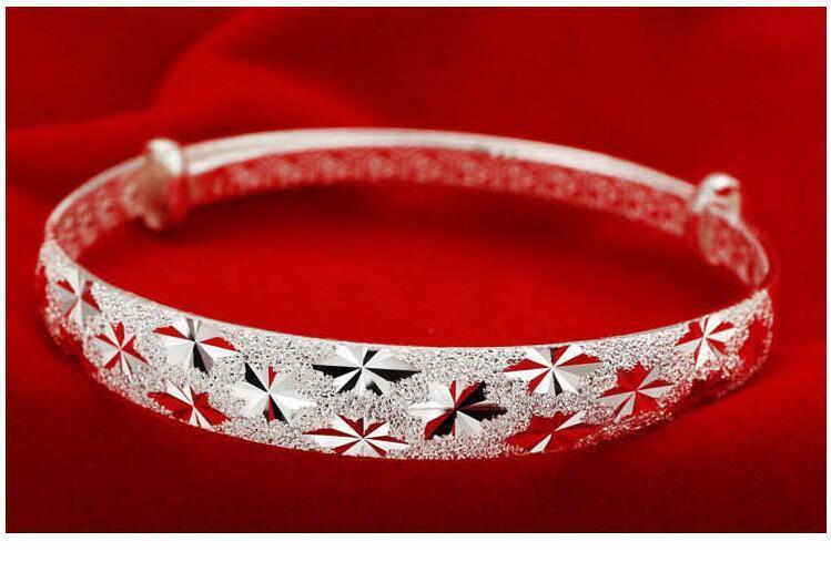 Classic Trendy Scrub Stars Bracelets For Women Adjustable 925 Sterling Silver Jewelry Handmade Delicate Bangle Hot Sale Free Ship