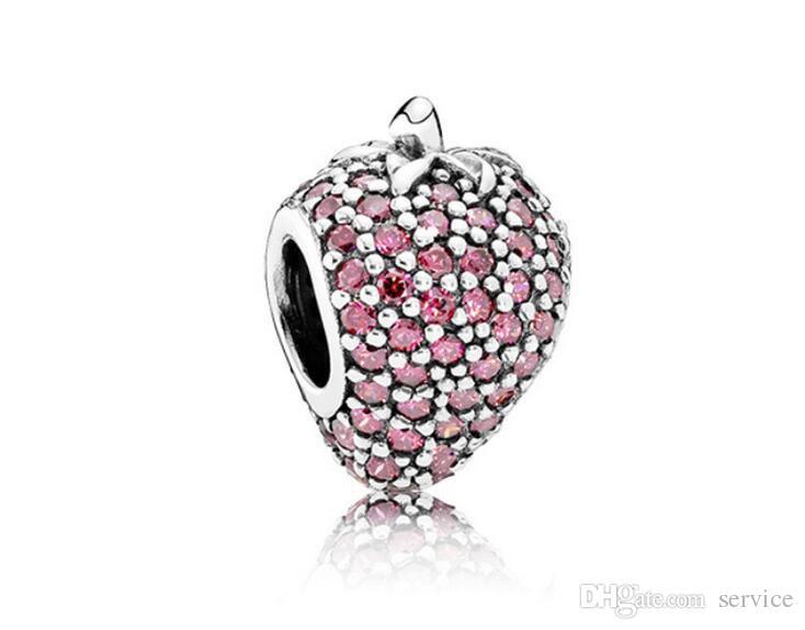 S925 925 cuentas de plata Sterling Silver Pave Strawberry con encanto Crystal Big Hole Beads cuelgan Fit European Pulseras 2017 Style