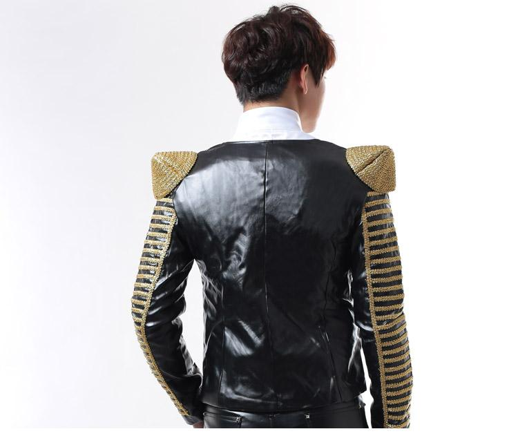 male fashion PU leather jacket stage blazers outerwear dancer singer performance show nightclub clothing Outdoors Slim wear black red white