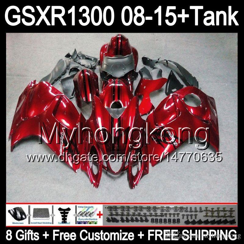 Gloss Red 8Gifts para Suzuki Hayabusa GSXR1300 2008 2007 2007 2010 2011 14HM1 GSXR-1300 GSX R1300 GSXR 1300 2012 2013 2014 2014 2015 Alquileres de color oscuro