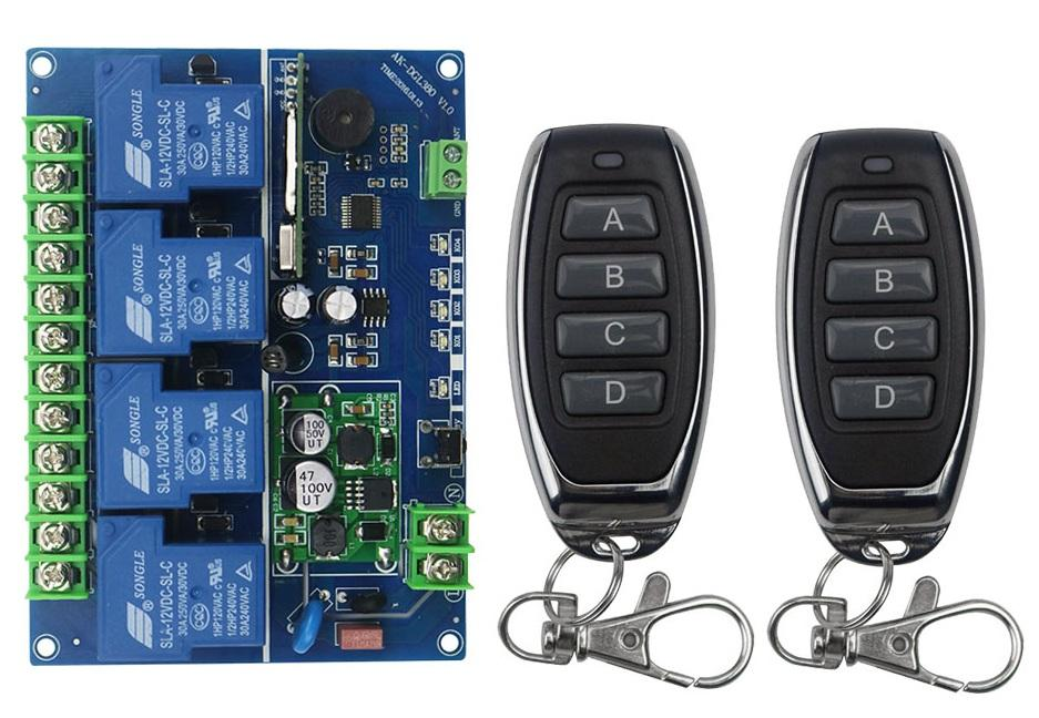 Wholesale- 12V 24V 36V 48V 4CH 30A RF Wireless Remote Control Relay Switch  Security System Garage Doors Gate Electric Doors 2* remote
