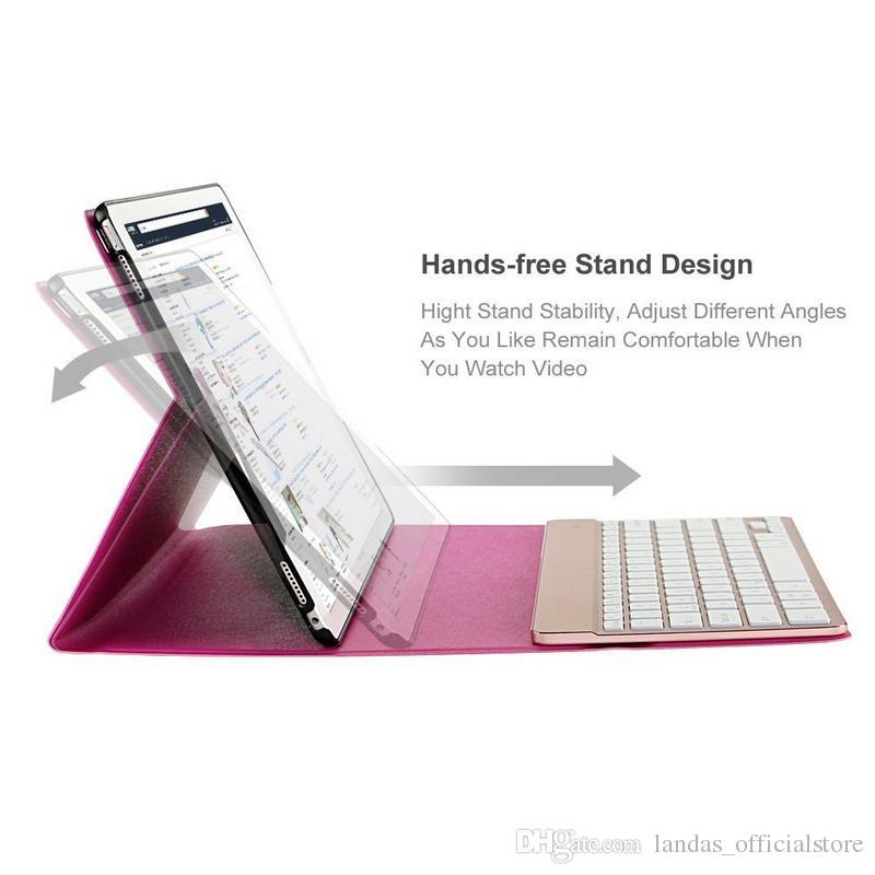 2017 nueva rosa para iPad Pro 12.9 caso con teclado retroiluminado Bluetooth y elegante folio PU funda de cuero 3.0 teclado inalámbrico
