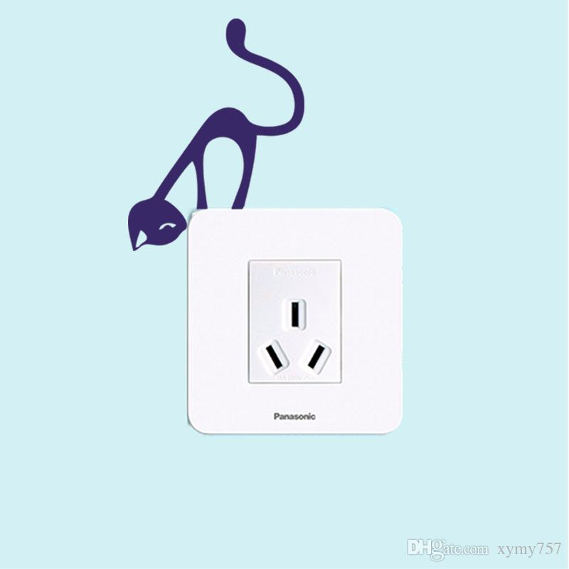 2017 hot sale cute Wall Switch Sticker Vinyl Decals Quote Cat Light Switch Decal Home Art Vinyl Removable diy