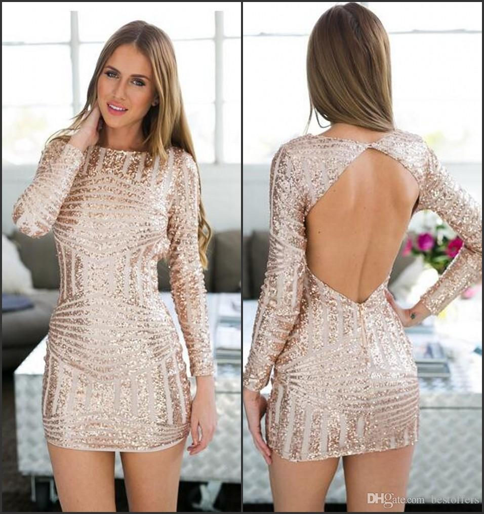e31608d0414 Rose Gold Long Sleeve Open Back Bodycon Sequin Homecoming Dresses 2017 Knee  Length Fashion Prom Party Gowns Vestido De Fiesta Custom Shop Dress Shop  For ...
