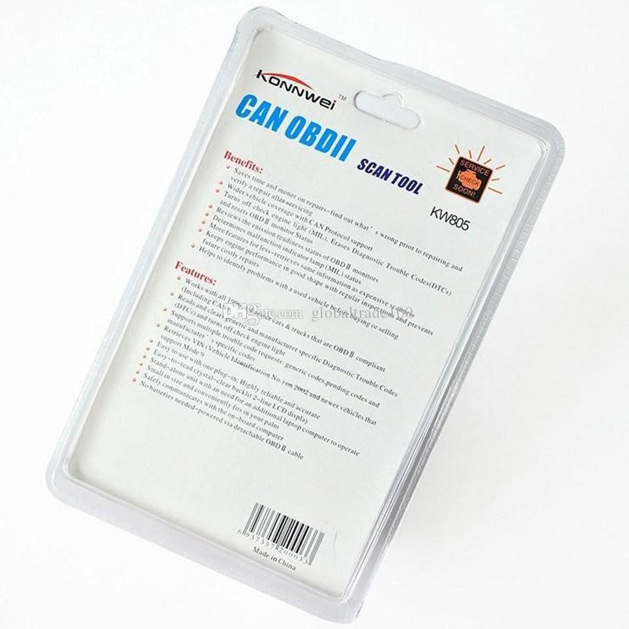 KONNWEI Araba Teşhis Aracı KONNWEI KW805 Kod Tarayıcı Arıza Okuyucu CAN OBD2 OBD II EOBD MOTOR YÖNETIMI Ücretsiz DHL Kargo
