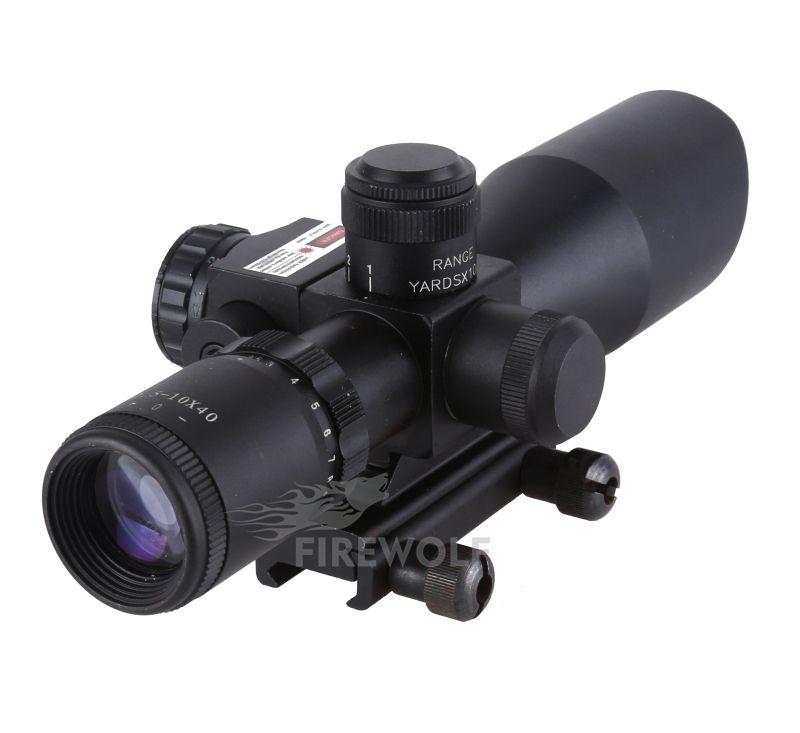 2017 Nuovo 2.5-10X40 RedGreen Dot illuminato reticolo mirino Mirino laser telescopico con supporto regolabile