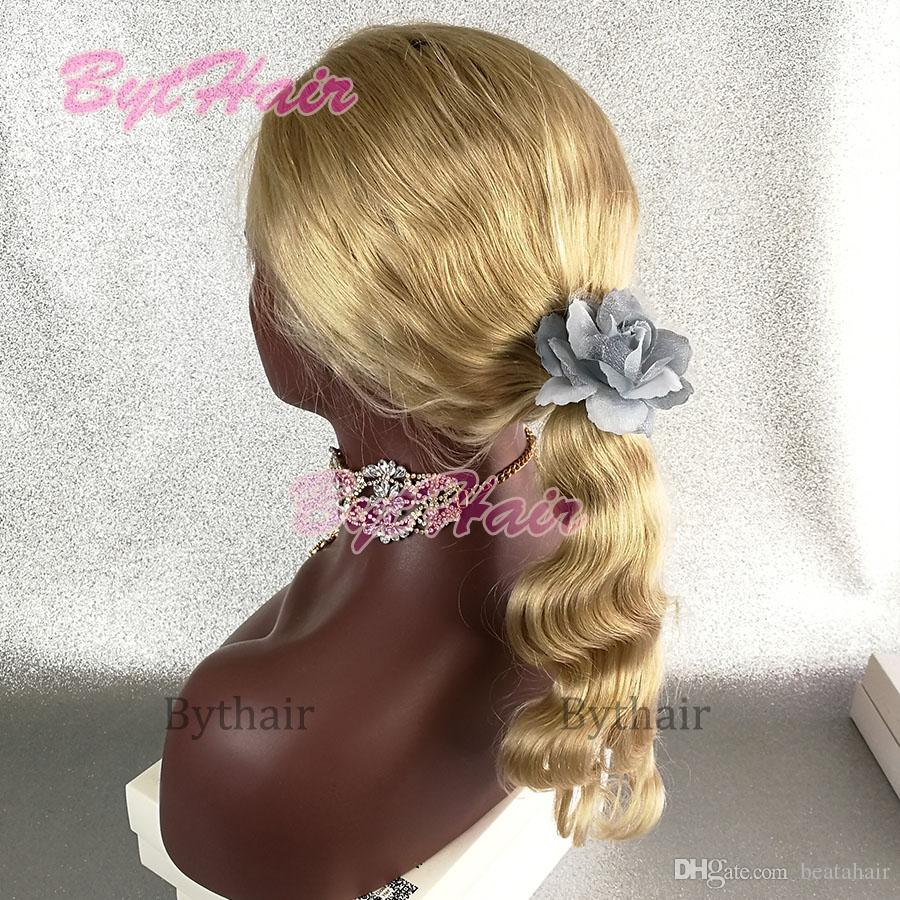 Bythair Bleached Knots Blonde #Body Wave Human Hair Glueless Full Lace Wigs Brazilian Human Hair Lace Front Wigs With Baby Hairs