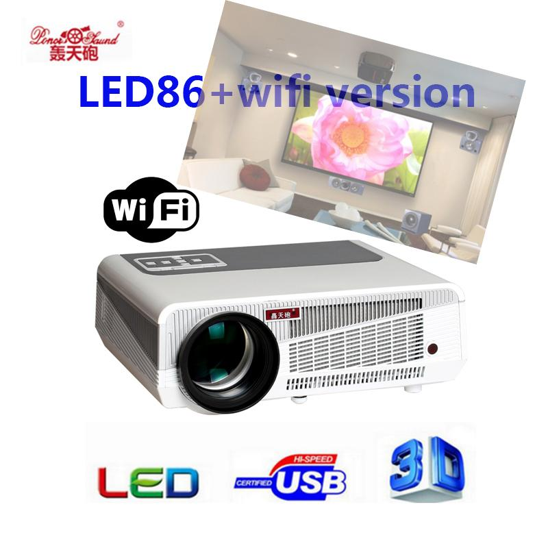 Wholesale- 5500lumen Android4.4 HD LED Wifi Smart Projector 230W 3D home theater LCD Video Proyector TV Beamer with Bluetooth 4.0