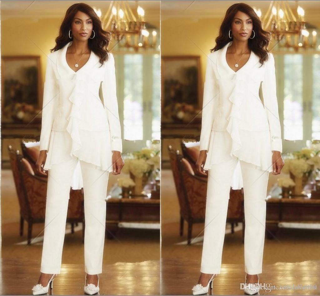 Due pezzi bianco avorio 2019 fodero elegante madri pantaloni abiti custom made ruffles chiffon madre della sposa abiti manica lunga abito da festa