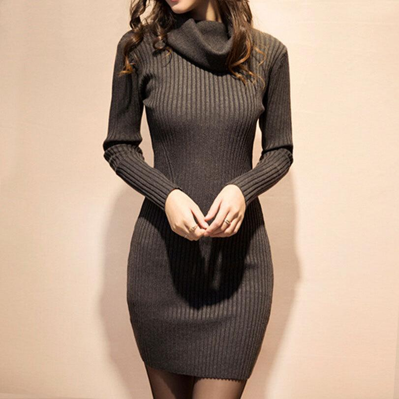 7bbe3547a2a Wholesale-Thick Turtleneck Sweater Dress Women 2016 Autumn Long Sleeve  Knitted High Neck Warm Pullover Elastic Jumper Winter Long Sweaters