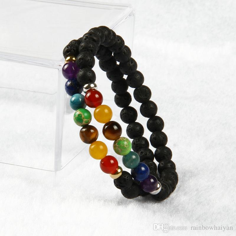 새로운 디자인 7 차크라 치유 돌 요가 명상 팔찌 6mm 용암 바위 돌 구슬 믹스 색상 돌 팔찌 선물