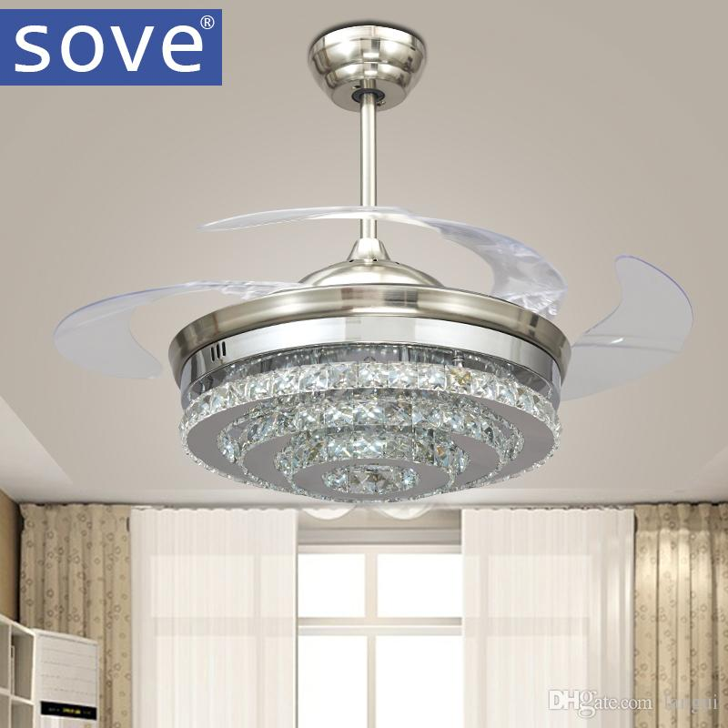 2018 sove modern led invisible crystal ceiling fans with lights 2018 sove modern led invisible crystal ceiling fans with lights bedroom folding ceiling light fan remote control ventilador de teto 220v from langui mozeypictures Gallery