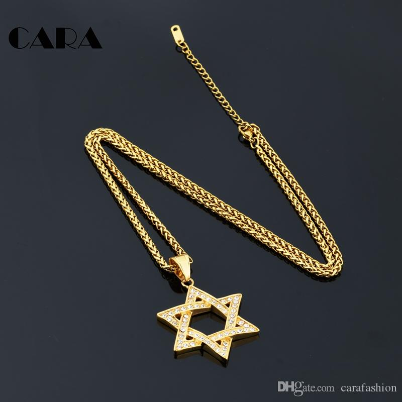 CARA Crystal Jewelry Gift Cuban Chains Men Women Bling Gold-color Solomon Seal Judaism Jewish Six Jew Stars S Necklaces CAGF0154
