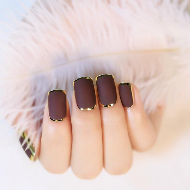 Wholesale =Matte Chocolate Color Fake Nail Tips Noble Gold Line Nail ...