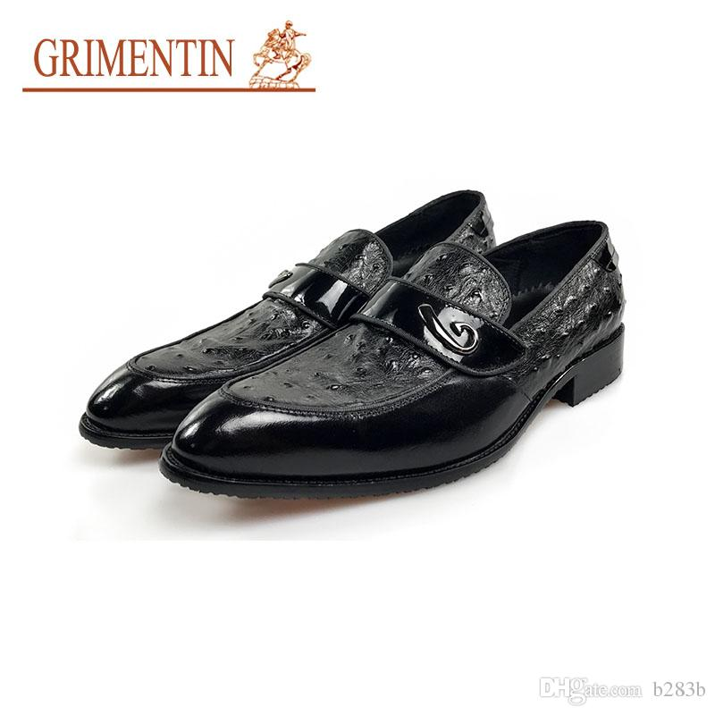 0817b37616d Compre Grimentin Nuevo Oxfords Zapatos De Vestir Italianos De Lujo Hombres  Cuero Genuino Slip En Negro Zapatos De Negocios Masculinos Para El Tamaño  De La ...