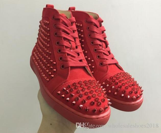 580c14bfdc4 Hi Top Maroon Spikes Casual Red Bottom Luxury Shoes 2017 New Men And Women  Party Designer Sneakers Lovers Genuine Leather Size EU47 High Top Shoes  Cheap ...