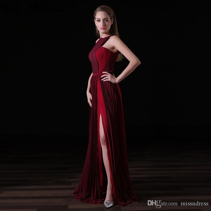 2017 Burgundy Chiffon Long Evening Dresses Halter Fashion Women Formal Gown Cheap Crepe Sexy Slit Evening Party Prom Dresses A019