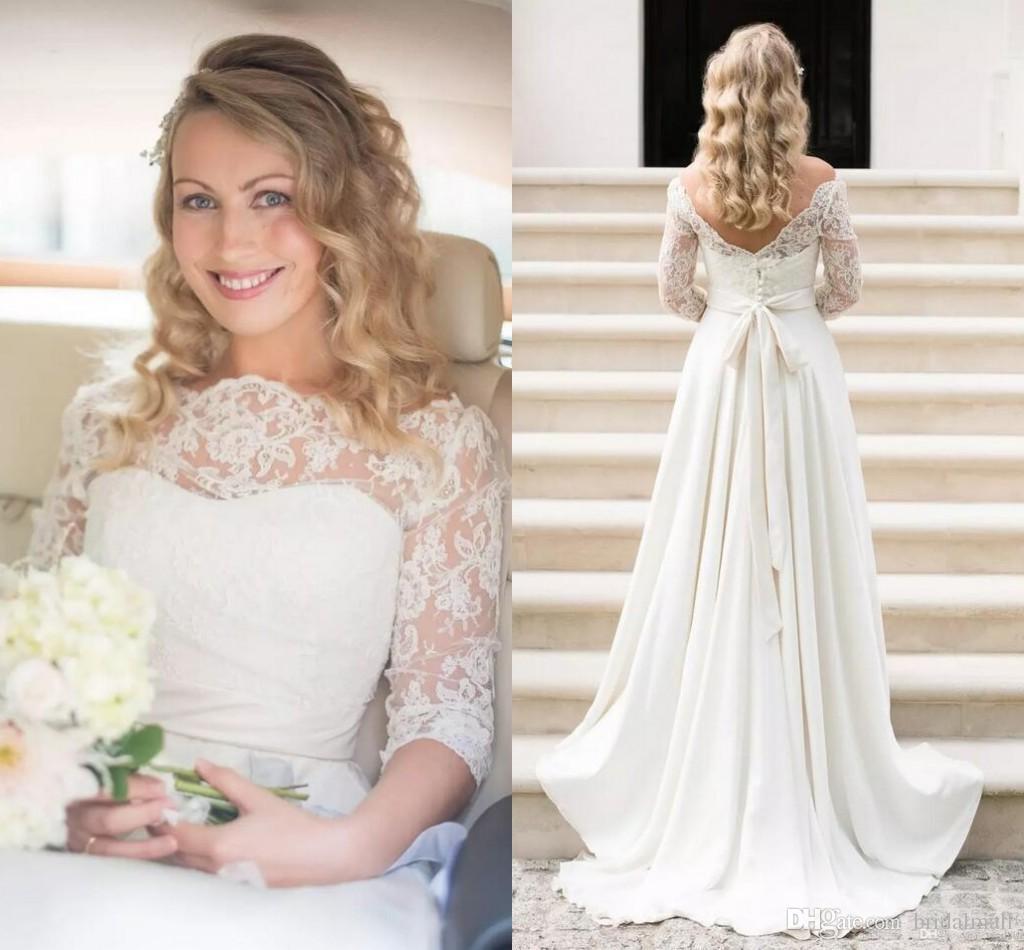 Discount Vintage 2017 Lace Beach Wedding Dresses Scoop 34 Long