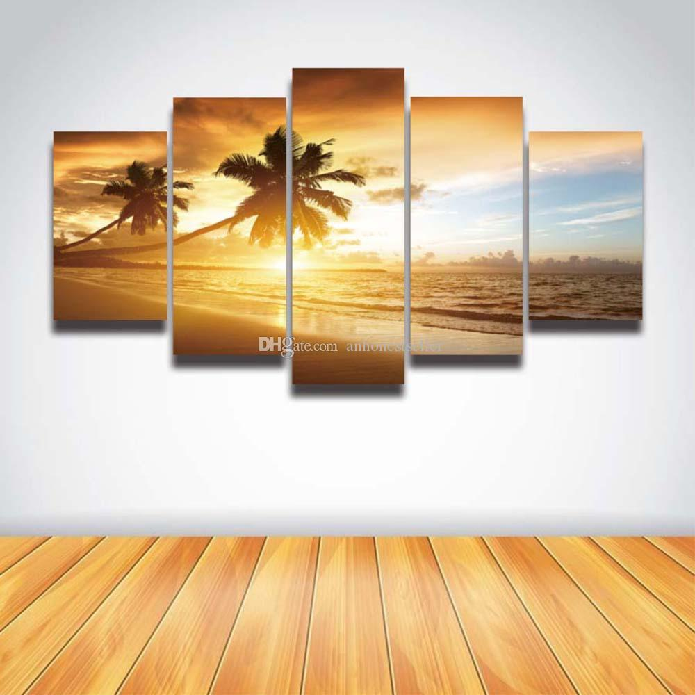 2018 5 Panel Canvas Prints Palm Tree Sunset Seascape Picture Sea ...