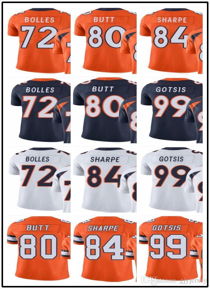 26e85b615 ... Jersey - 72 NFL Denver Broncos Mens Road White 2017 Denver  custombroncomenYouthWomen72 Garett Bolles 80 Jake Butt 84 Hannon Sharpe 99  Gotsis Vapor ...