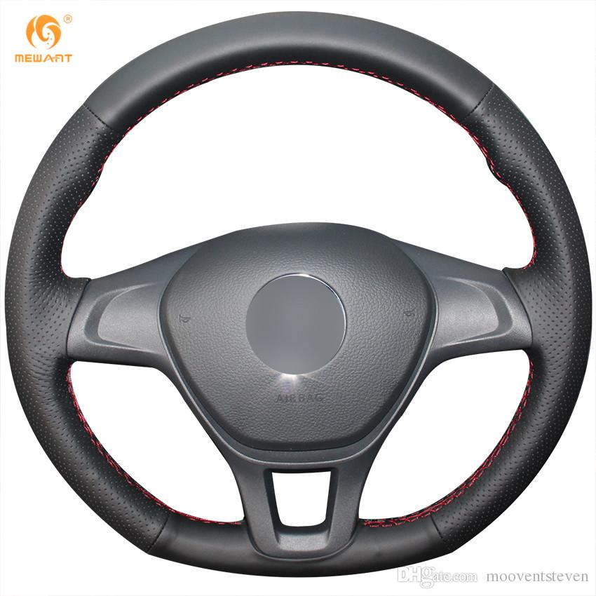 Mewant Black Genuine Leather Car Steering Wheel Cover For Volkswagen