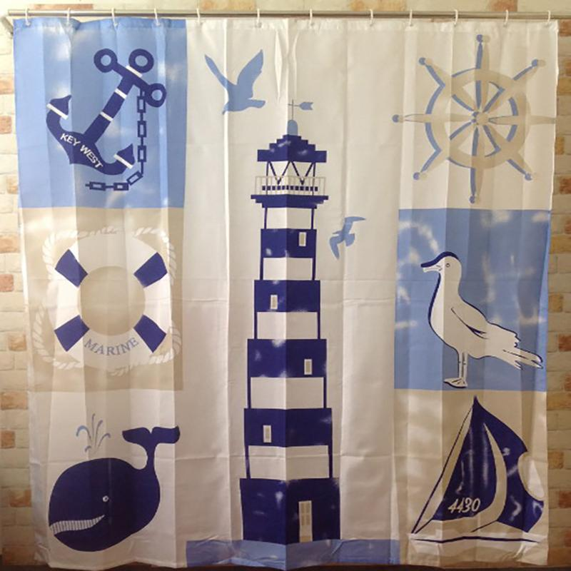 2018 Wholesale Shower Curtain Waterproof Ocean 180x180cm Bathroom Tub Lighthouse Polyester Novelty Cool Fun Nautical Curtains From Galry
