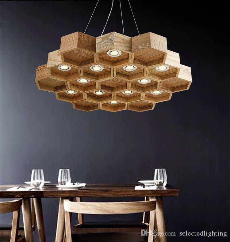 discount loft wood pendant lamp honeycomb chandeliers nordic antique wooden founded on solid wood light bar coffee shop small chandeliers