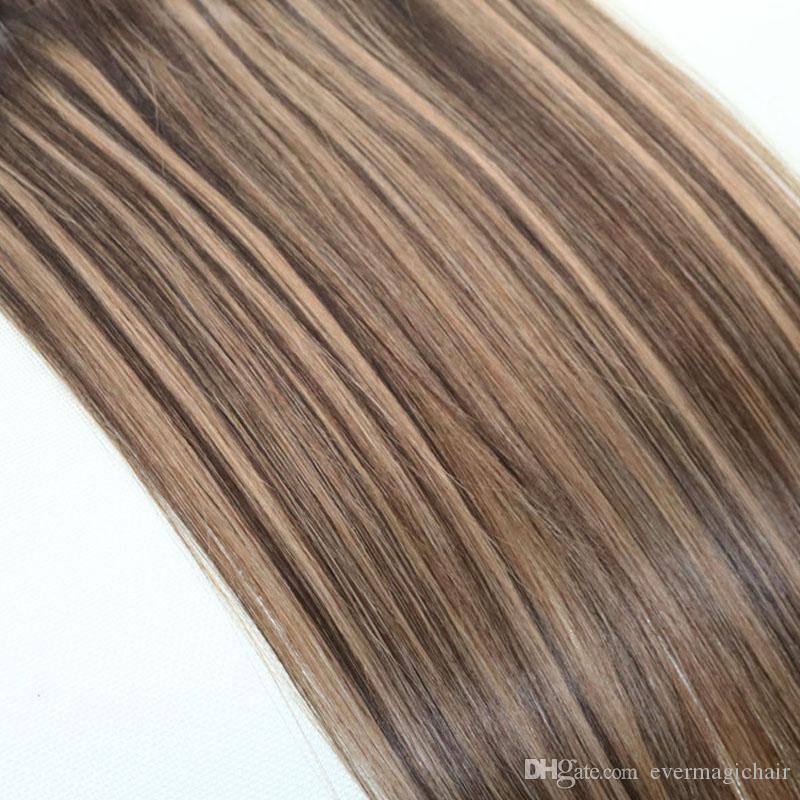 Human Hair Weave Ombre Dye Color Brazilian Virgin Hair Weft Bundle Extensions Two Tone 4#Brown To #27 Blonde