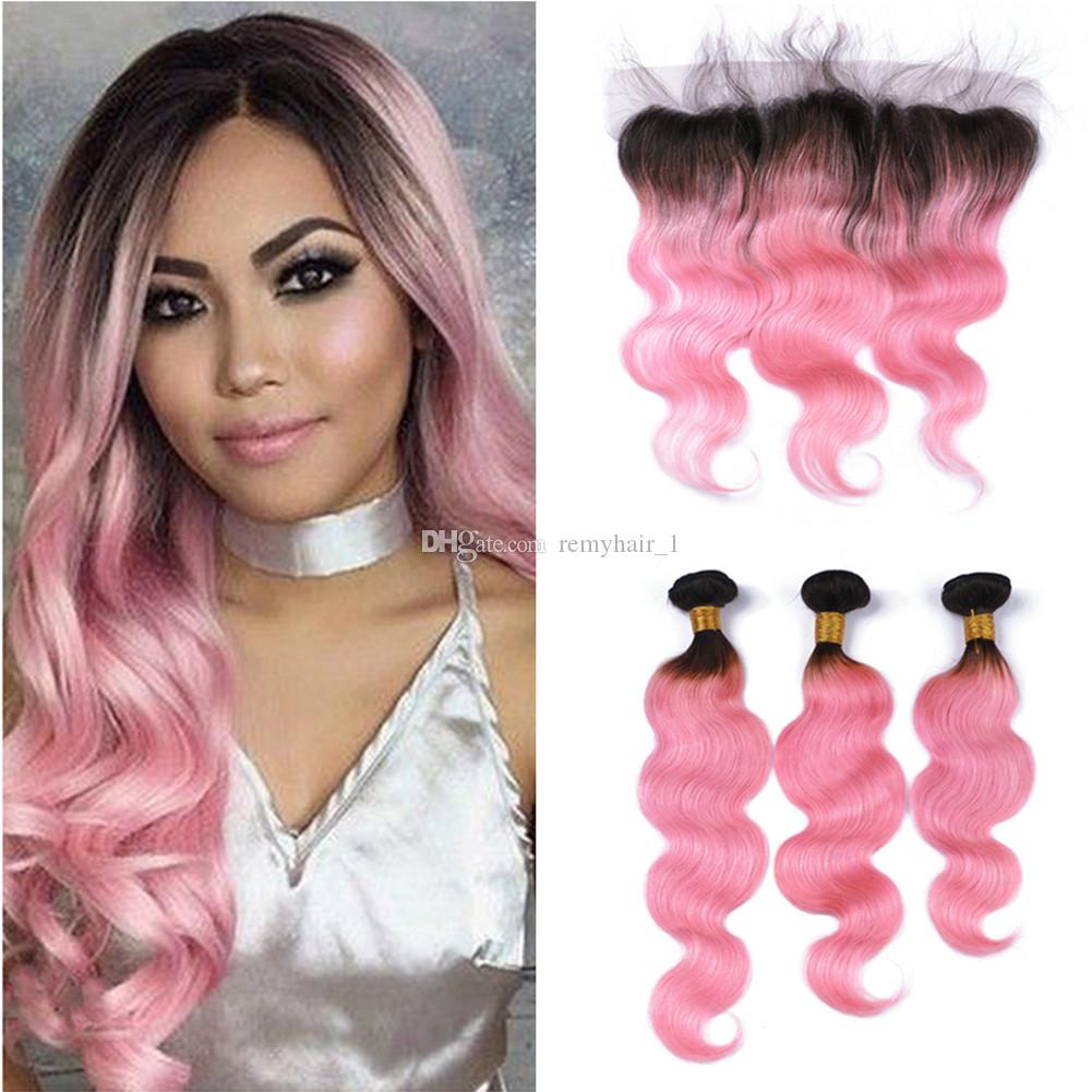 3bundles Pink Ombre Hair Extensions With Lace Frontal Two Tone Color