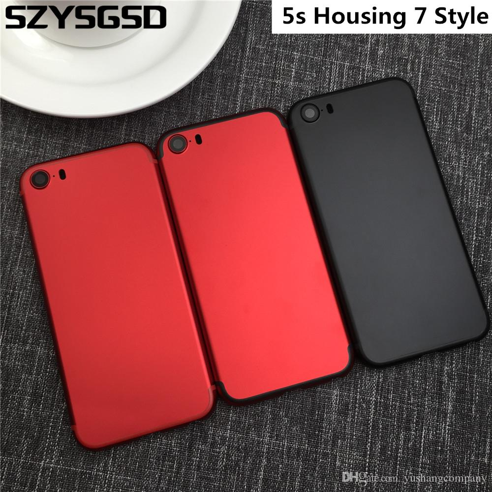 For Iphone 5s Housing 7 Style Black Red Battery Door Cover Like Mini Back With IMEI Logo 5 5S