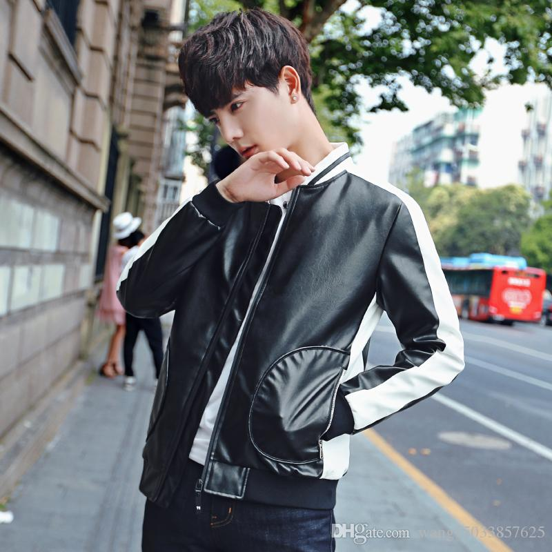 fd131fff7b193 2017 New Men s Clothing Plus Size The Trend of Korean Youth Slim Casual  Jacket Collar New Plus Size PU Online with  43.43 Piece on  Wang15033857625 s Store ...