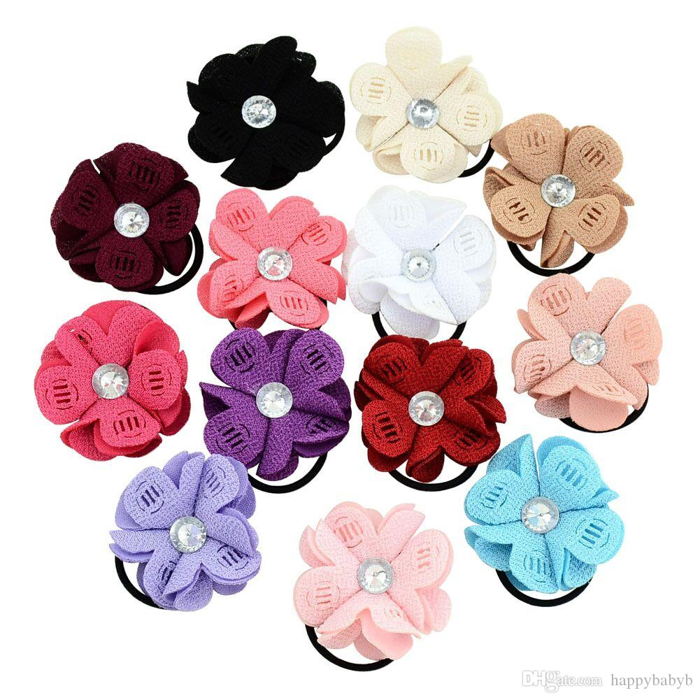 2017 New Arrival Baby Headbands Chiffon Flowers Girls Nylon Hairbands Children Hair Accessories Sunflower Princess Headwear Free shipped