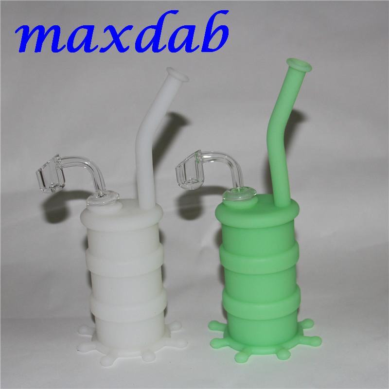 Silicone Mini Bong Tubulação De Água Colorida Sólida Brilho Luminoso Cor Bongos de Silicone Tubos com 14mm macho conjunta bonger de quartzo