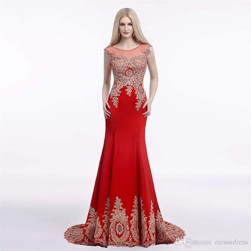 0fc3a33e334 Jewel Sheer Neckline Mermaid Prom Dresses Sheer Back Sexy Prom Dresses God  Lace Applique Red Evening Dress White Elegant Evening Gowns Special Occasion  ...