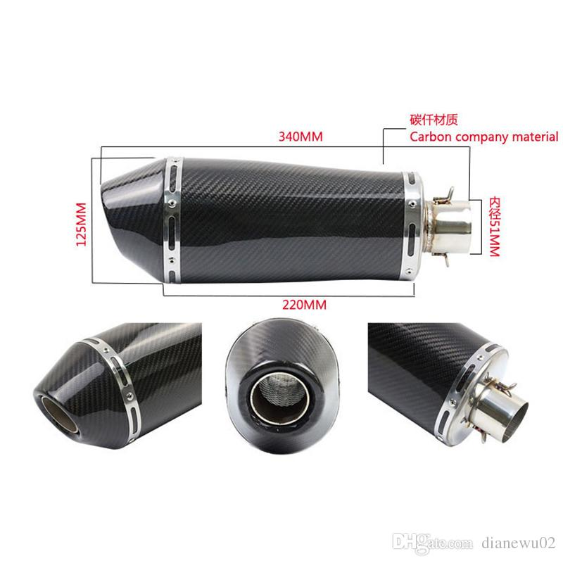 Real Carbon Fiber Universal Motorcycle Exhaust Pipe Vent Pipe Slip On Dirt Street Bike Motorcycle Exhaust System 38-51 mm