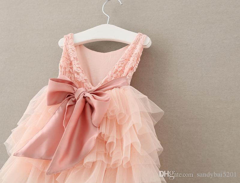 Niños Niñas Rose Vestidos de encaje 2017 Summer Baby Girl Pink Ruffle Dress Princesa infantil Bow Flower Party Dress Babies Wholesale Clothing S518