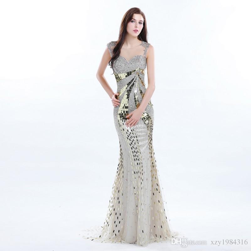 Superbe or pailleté Robes de bal Sheer sans manches Shinny cristal Backless sirène Robes de soirée magnifique Party Celebrity Dress