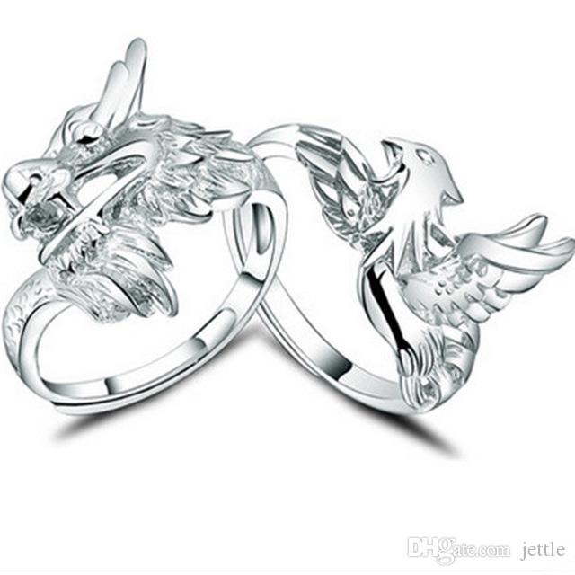 Lover's Men's dragon Women's Phoenix ring 100% Genuine 925 Ring pure silver Jewelry personality fine jewelry