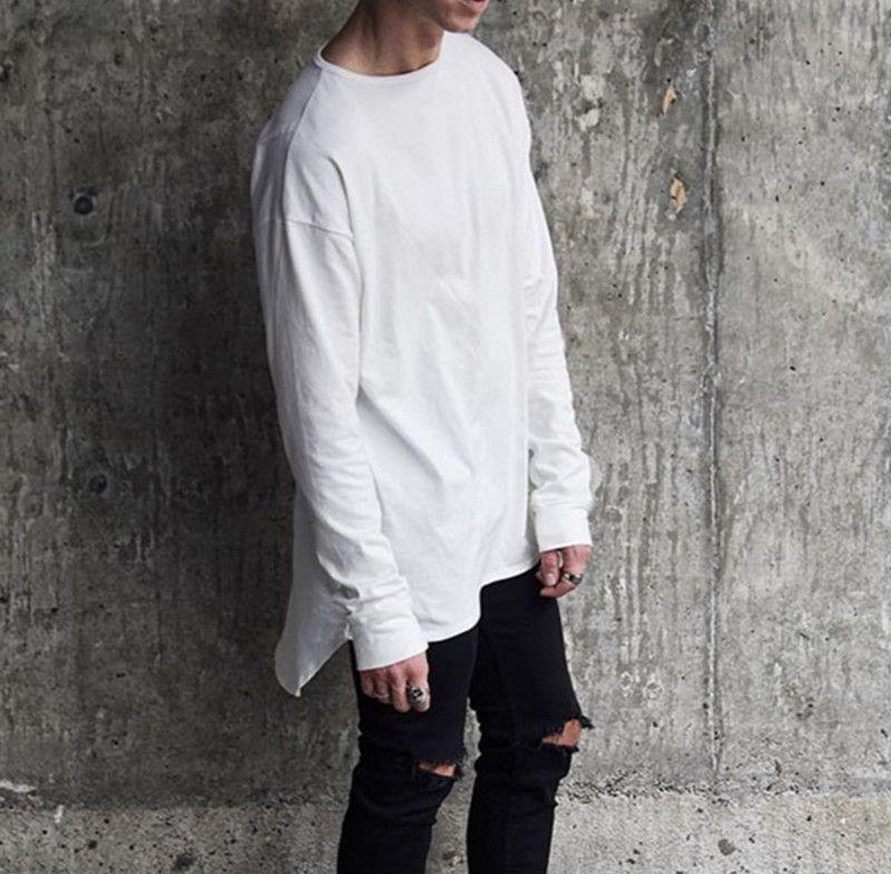 2017 Streetwear Uzun Kollu O-Boyun Erkekler Temel T Shirt / Genişletilmiş Uzunluk Yüksek düşük Ark Hem Erkekler Casual Tee Beyaz Gri