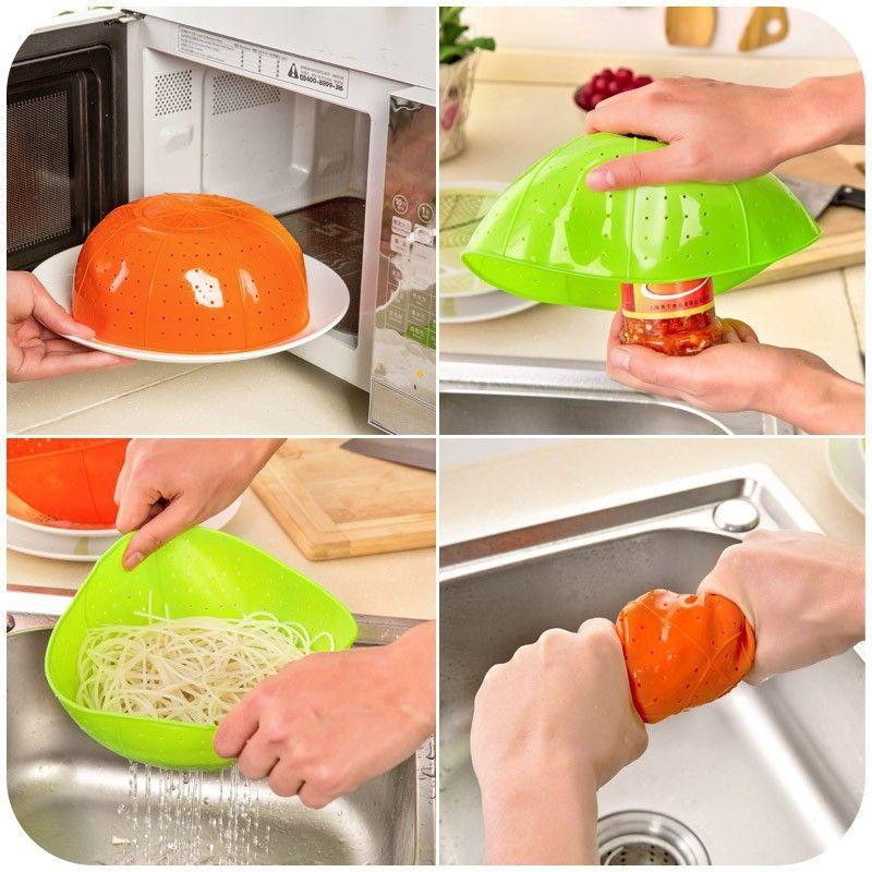 Multifunktionale lebensmittelqualität silikon küche ablauf korb reis waschen gemüse obstkorb mikrowelle dish hood kostenloser versand