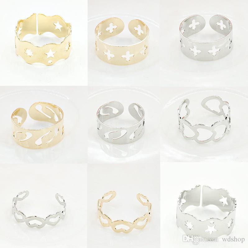 Moda prata anel pentagrama coração amoroso para as mulheres de ouro anéis de festa de casamento anéis de junta aberta