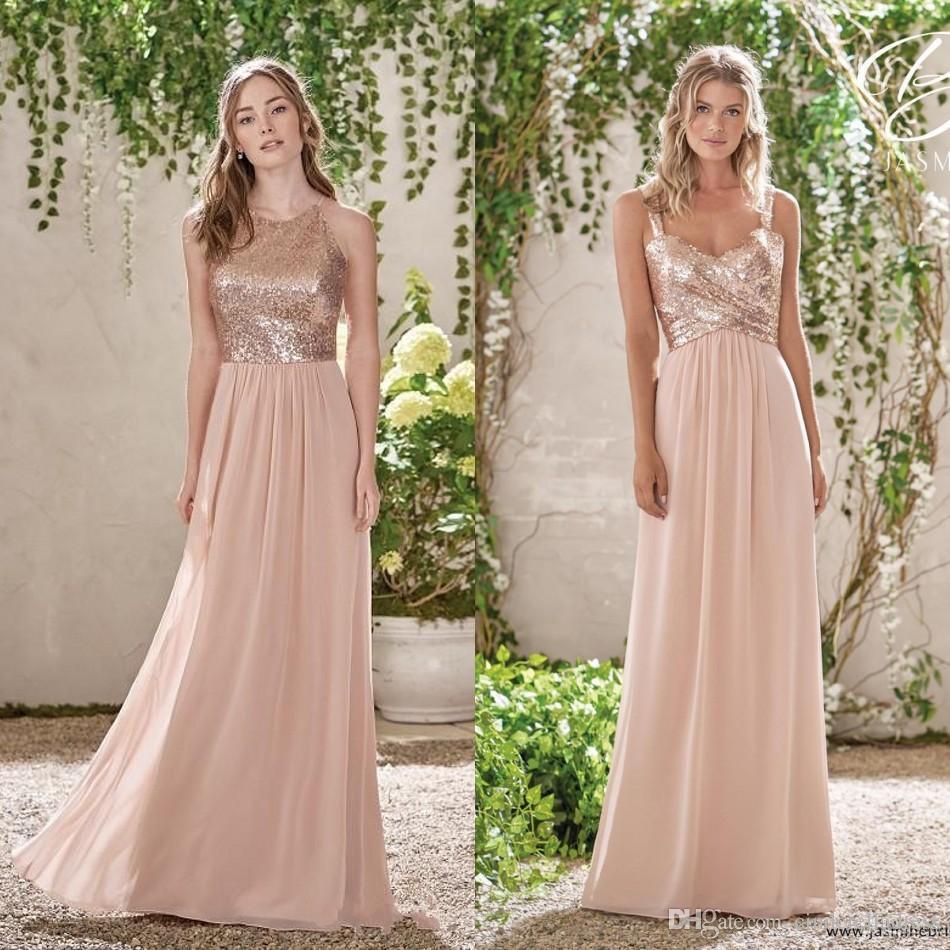 Barato Lentejuelas de oro rosa Top Long Chiffon Beach 2019 Vestidos de dama de honor Halter Sin espalda Una línea Correas Volantes Blush Pink Maid Of Honor Gowns