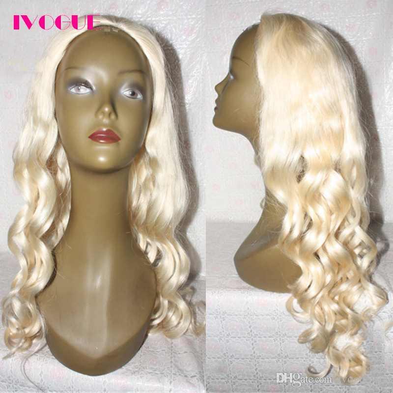 الأزياء متموجة 3/4 شعر الإنسان نصف الباروكات غير المجهزة عذراء البرازيلي الإنسان الشعر أيا الدانتيل الباروكات للنساء