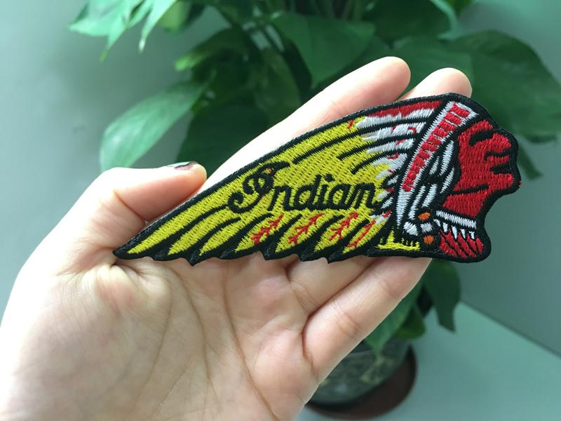 Cool Indian Motorcycles Patches Iron on Embroidered Patch for Clothing and Hats Caps Patch Applique Sew on Patch 11x4.5cm G0205