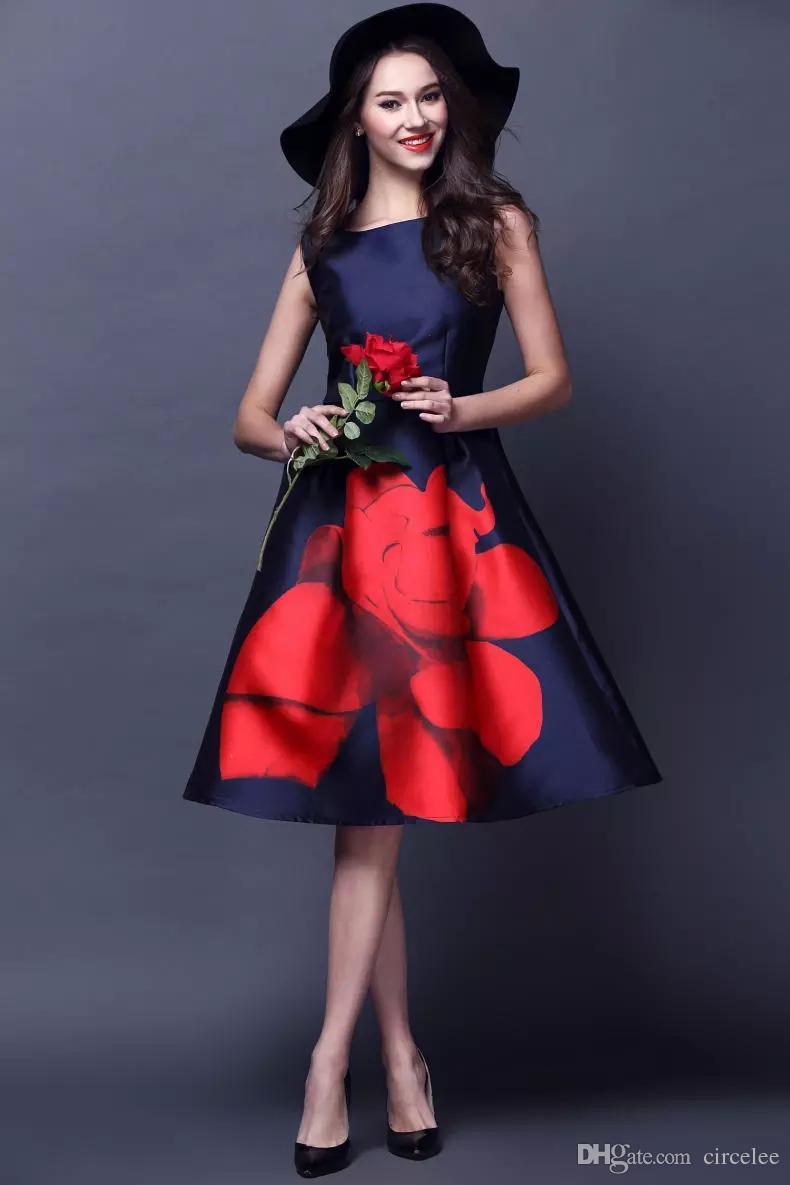 ce44027b4 Compre 2017 Hermoso Desgaste Del Partido Vestidos Formales Cortos Vestidos  De Celebridades Imprimir Vestido De Noche Para Las Mujeres Hasta La Rodilla  Envío ...