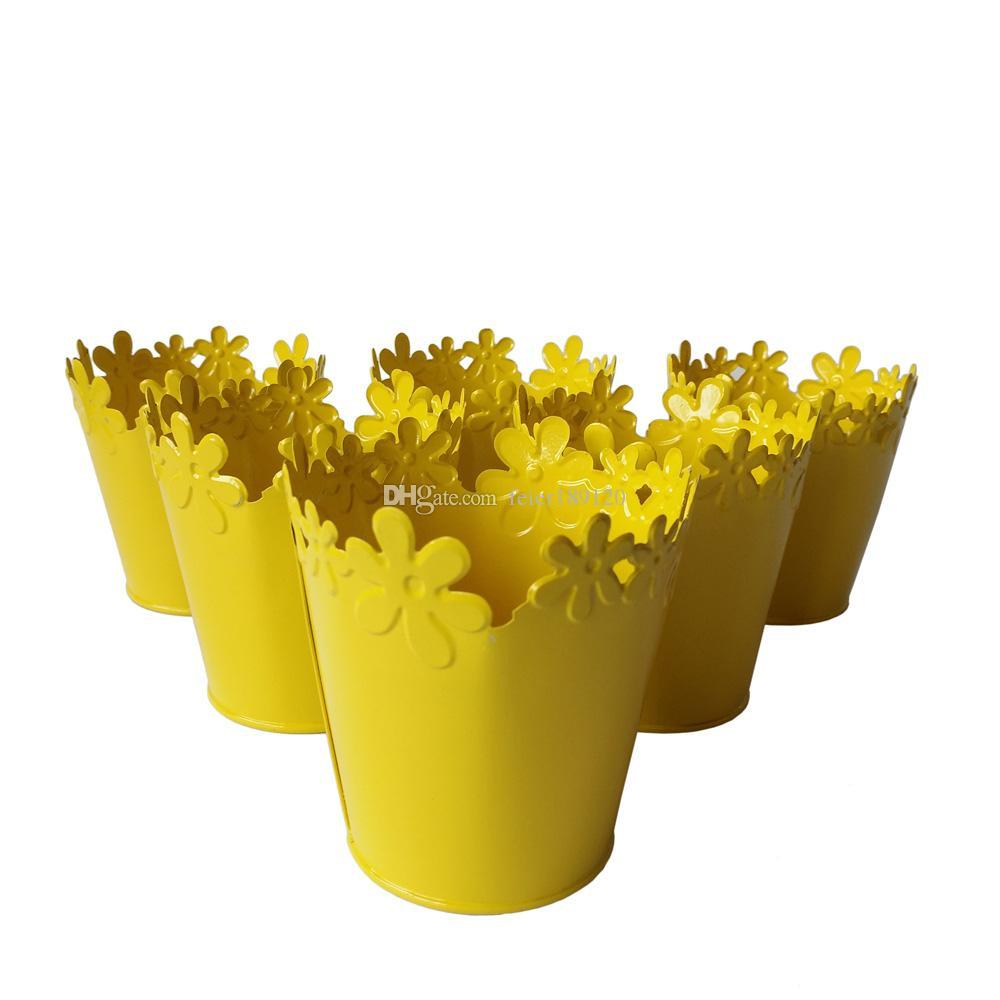 D95xh10cm Yellow Color Small Metal Vase Pots Pure Succulent Pot Tin